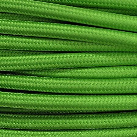 abat jour Cavo elettrico in tessuto tondo rotondo stile vintage rivestito 10 metri colorato Verde Lime Kiwi H03VV-F sezione 3x0,75 per lampadari Made in Italy lampade design