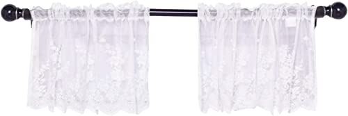 Topmodehome Valances for Windows 2 Pack Lace, Total 102inch Wide, Floral Embroidered Semi Sheer Curtain Window Valance for Kitchen Cafe Dinning Bath Room 2pcs White 51×16