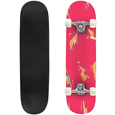 Classic Concave Skateboard Cartoon Seamless Background with Bolt Pattern Colored with Flashing Longboard Maple Deck Extreme Sports and Outdoors Double Kick Trick for Beginners and Professionals : Sports & Outdoors