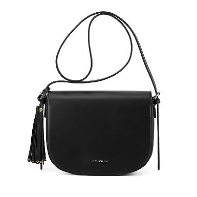 23838c9dc85f ECOSUSI Women s Saddle Crossbody Bag Shoulder Purse with Tassel and Front  Pocket