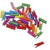 NUOLUX 3.5 cm Mollettine Foto di legno Mini clip mollette per decorazioni fai da te - 50Pcs