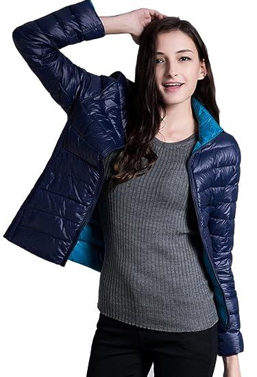 Lovache Damen Jacke Daunenjacke Leicht Mantel Daunen Zweiseitig Warm Stehtkragen