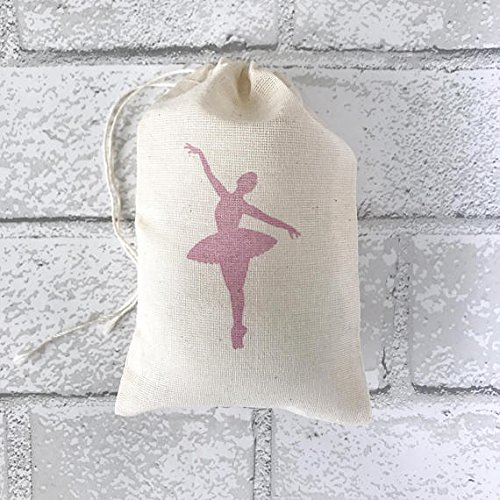 Ballerina Favor Bag Pink Ballet Muslin Bag Nutcracker Christmas Wedding Welcome Baby Shower Goodie Candy Birthday Dance Bachelorette Thank (Cotton Candy Ballerina)