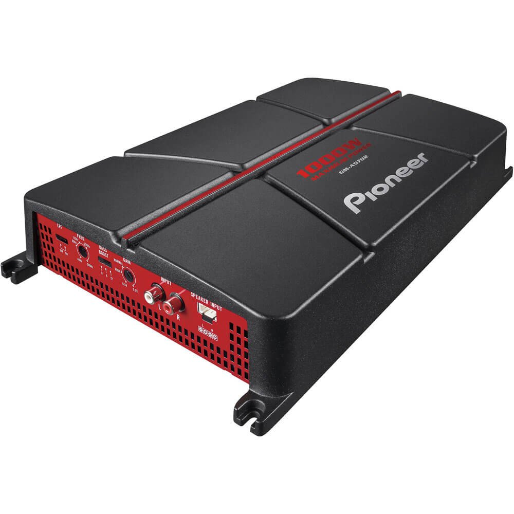 PIONEER GM-A5702 2-Channel Bridgeable Amplifier with Bass Boost, Black/Red
