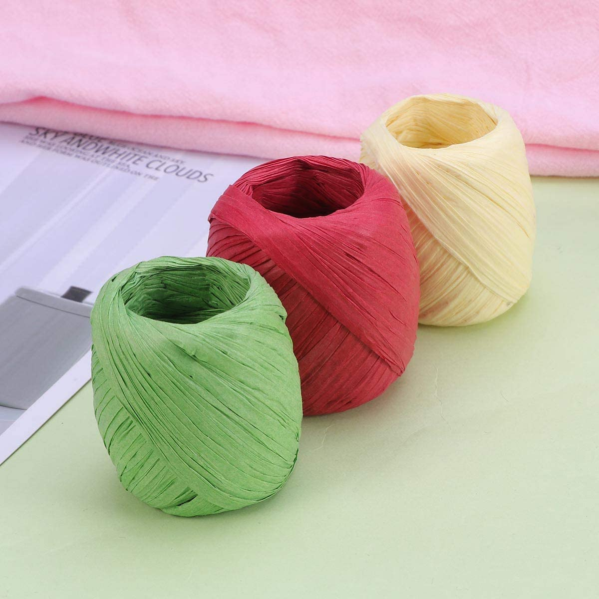 Army Green, Light Yellow, Red ULTNICE Raffia Ribbon Straw String Packing Tape for DIY Crafts Gift Packaging 3 Rolls 20M