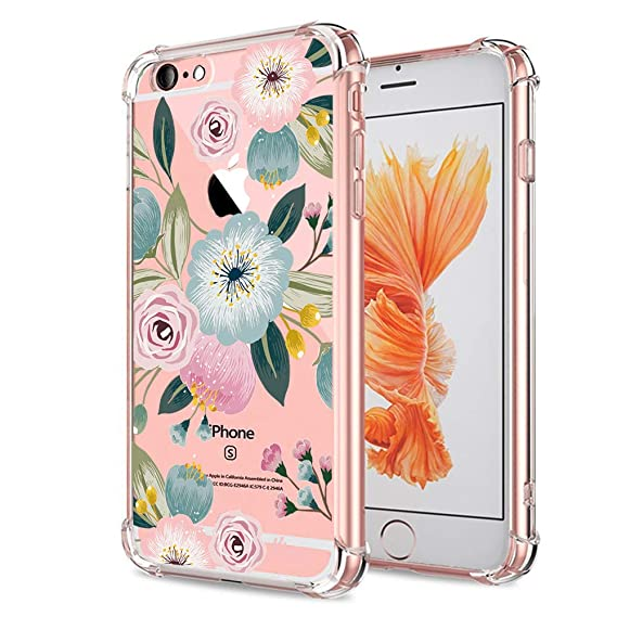 new concept 26feb 2b80f iPhone 6S Case for Girls, Clear with Design Floral Cute Pattern Protective  Case for iPhone 6 6S 4.7 Inch Pink Flowers Flexible Soft TPU Rubber Slim ...