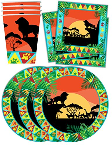 Sunset Safari Animals Birthday Party Supplies Set Plates Napkins Cups Kit for 16