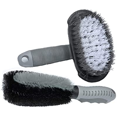 MATTC 2Pack Car Wheel Cleaning Brush Tire Rim Scrub Brush Soft Alloy Brush Cleaner Tie Auto Motorcycle Bike Wheel Cleaning Tool: Automotive