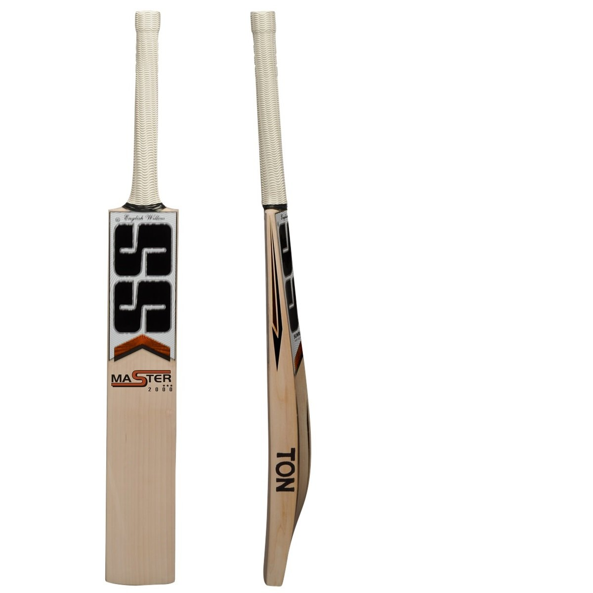SS Master 2000 English Willow Cricket Bat (Free Extra SS Grip, Bat cover, Anti scuff Sheet)- 2017 Edition