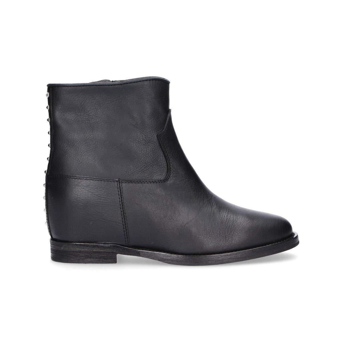 - VIA ROMA 15 Women's V2857BLACK Black Leather Ankle Boots