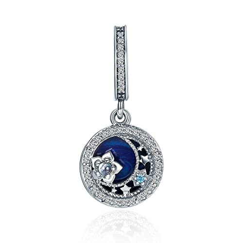 bc0d181d1bb83 Everbling Celestial Moon and Star You are a Star Dangle 925 Sterling Silver  Bead for European Charm Bracelet (Moonlit Star Blue Enamel Dangle)