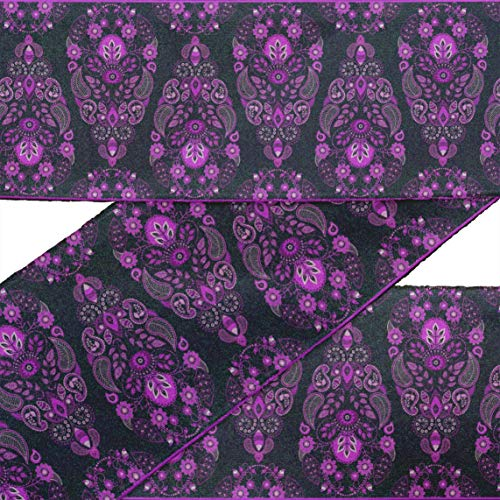 IBA Indianbeautifulart Purple Leaves,Floral & Paisley Block RibbonTrimTape Fabric Laces for Crafts Printed VelvetTrim9 Yards Sewing Accessories 2 Inches