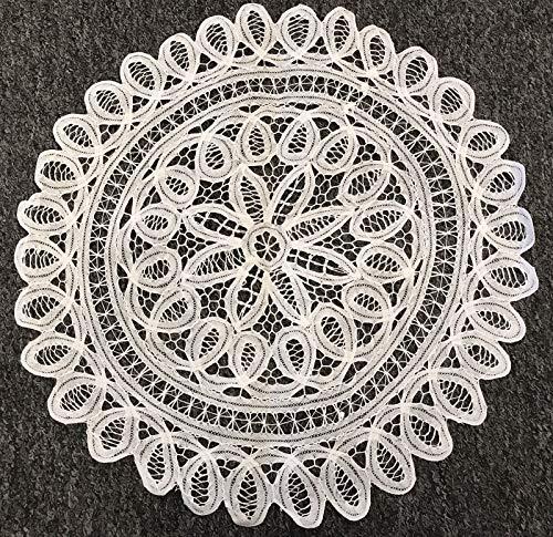 White Vintage Crochet Doily Doilies Round Cotton Handmade Battenburg Lace 18