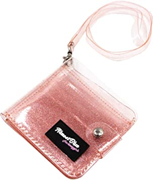 Cards Holder Clear wallet Transparent Purse Glitter PVC Card Bag Women Neck Lanyard Folding Card ID Cases Cash Coin Photo Stickers Holder Blue