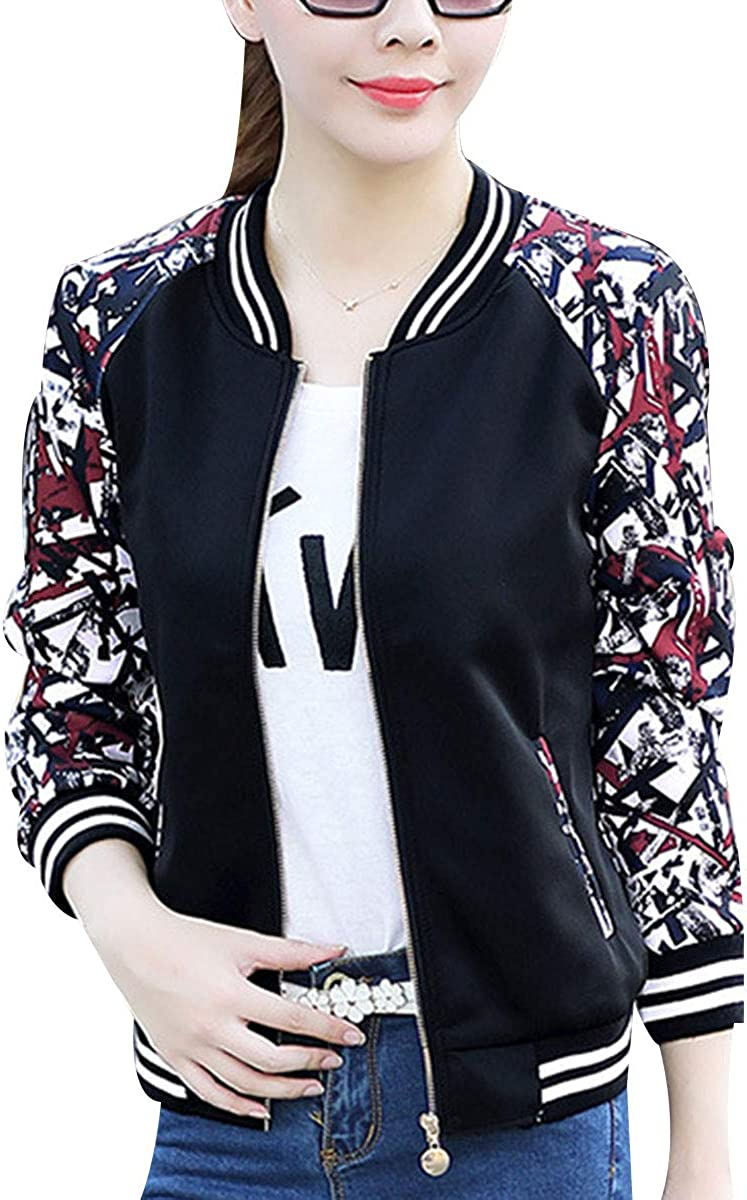 AvaCostume Womens Casual Striped Zip-up Bomber Jacket with Pockets