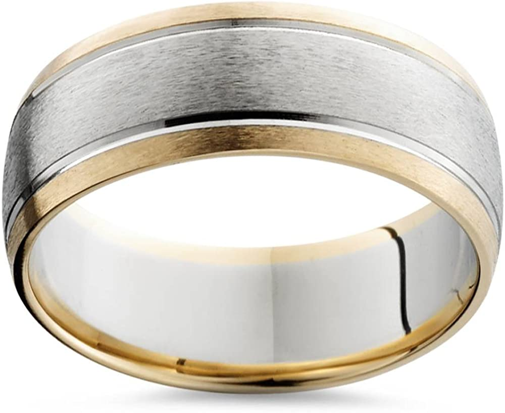 It is just an image of Mens Gold 40mm Two Tone Comfort Fit Wedding Band Ring 40k White and Yellow Gold
