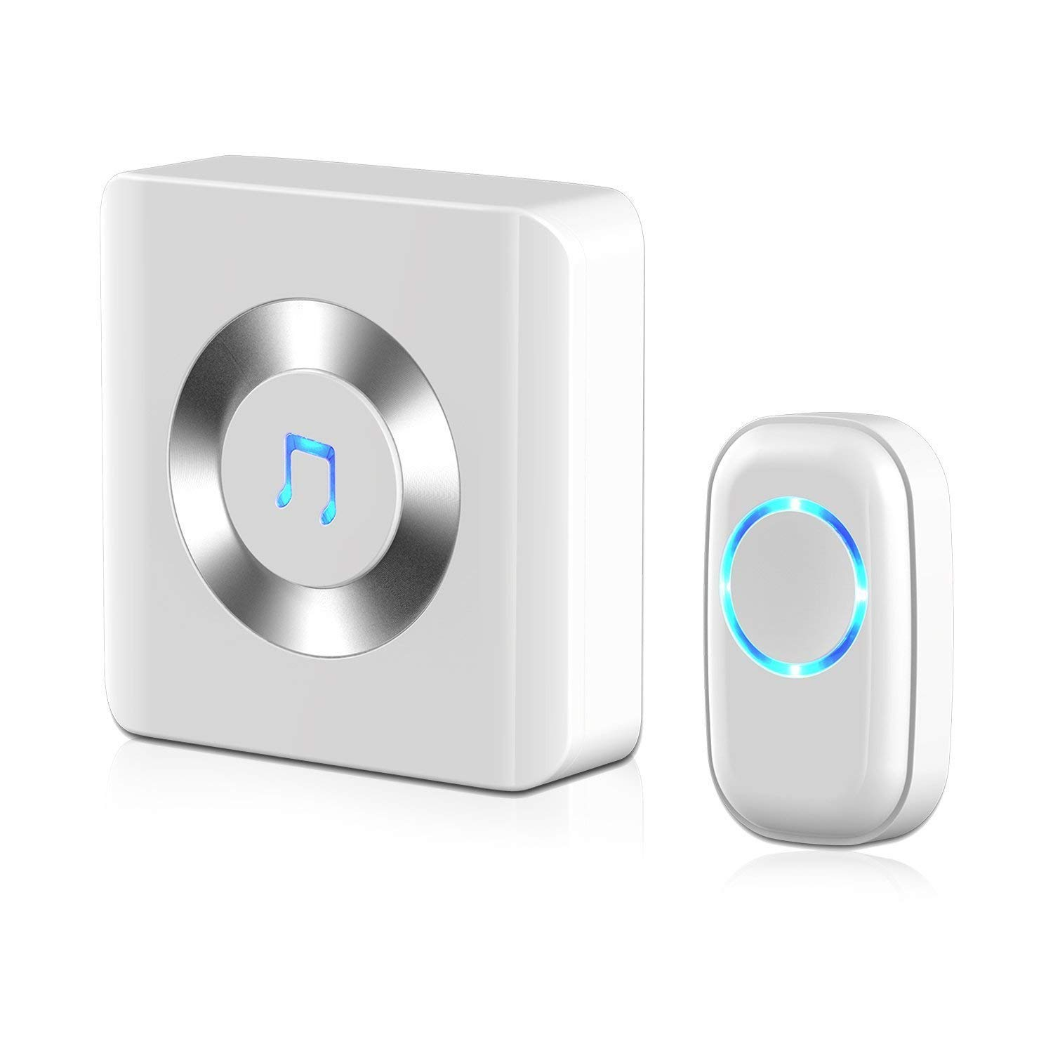 DLINMEI Wireless Remote Doorbell Alarm System Basic Starter Kit Includes 1 Plug-in Receiver And 1 Remote Button Transmitter White