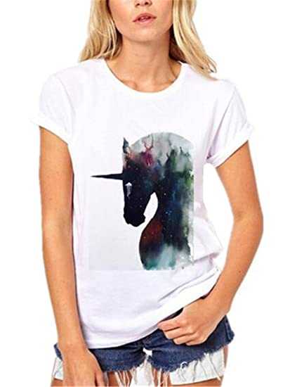 AILIENT Moda Camisetas Mujeres Manga Corta Tshirts Hipster Unicornio Impresas Blusas Cuello Redondo Camisas Clasicos Blusas Túnica Casuales Guapas: ...