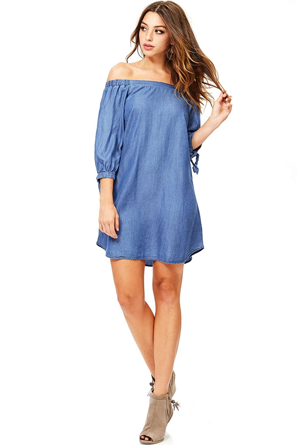 e7cf6c3fa5c3 Chambray off the shoulder dress with 3 4 sleeves. Light flowy chambray  fabric will keep you cool in spring and summer months. Hand Wash Cold 100%  Tencel