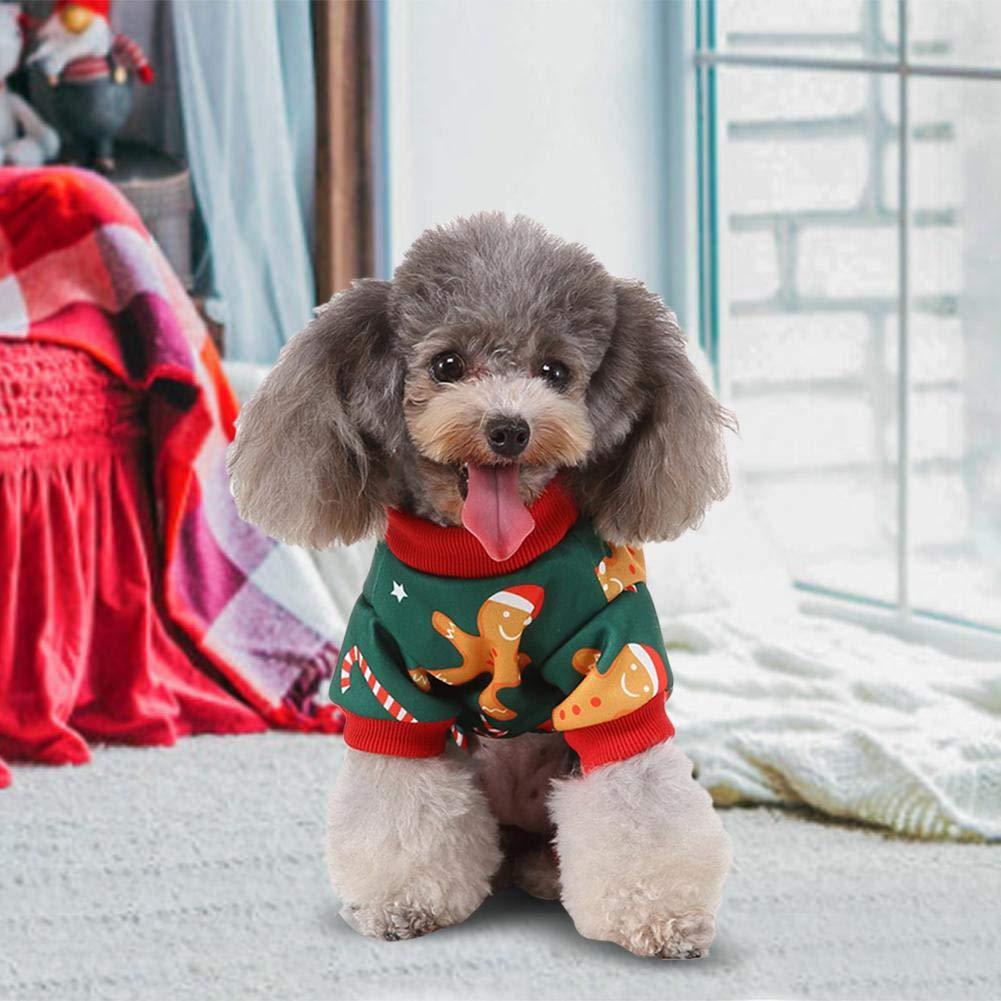 libelyef Ropa para Perros Navide/ños Pijamas De Poli/éster para Mascotas Mono Ropa Camiseta Camisa Ropa para Mascotas De Navidad Adecuada para Vacaciones De Navidad-Verde