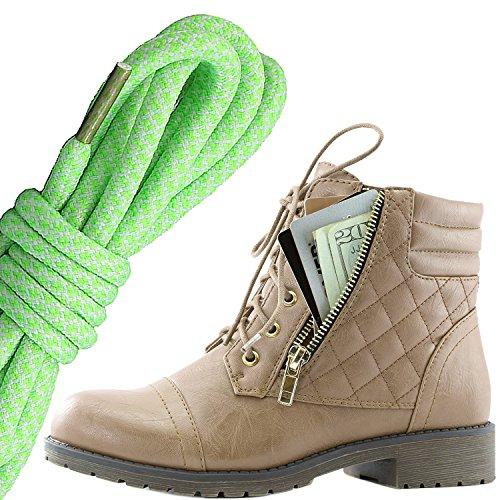 Dailyshoes Donna Militare Allacciatura Fibbia Stivali Da Combattimento Alla Caviglia Alta Tasca Esclusiva Per Carte Di Credito, Lime Bianco Beige Pu