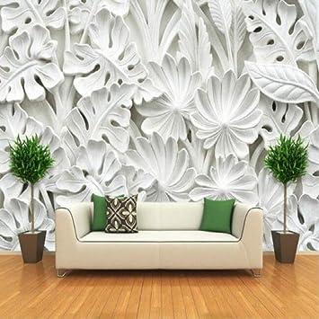 Zyzdsd Blattmuster Gips Relief Wandbilder 3D Tapete ...