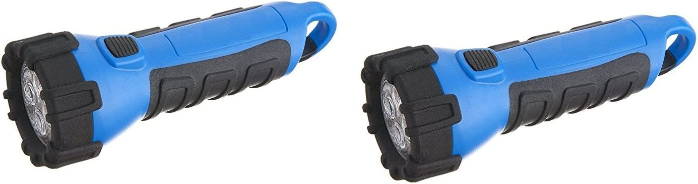 Floating Waterproof LED Flashlight with Carabineer Clip, 55-Lumens, Blue Finish 2 Pack