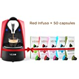 VERO, Infuso Red Coffee Machine + 50 Coffee Capsules, Nespresso Compatible Coffee Hamper