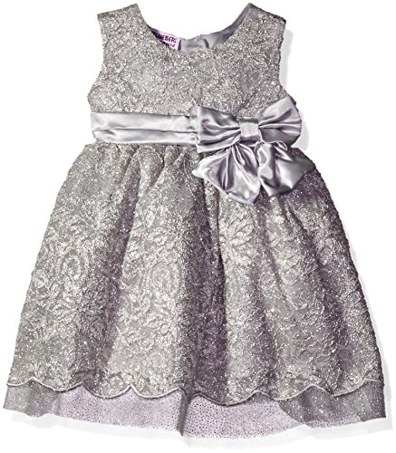 Blueberi Boulevard Girls' Metallic Lace Satin Bow Waist Dress, Silver, 12 Months