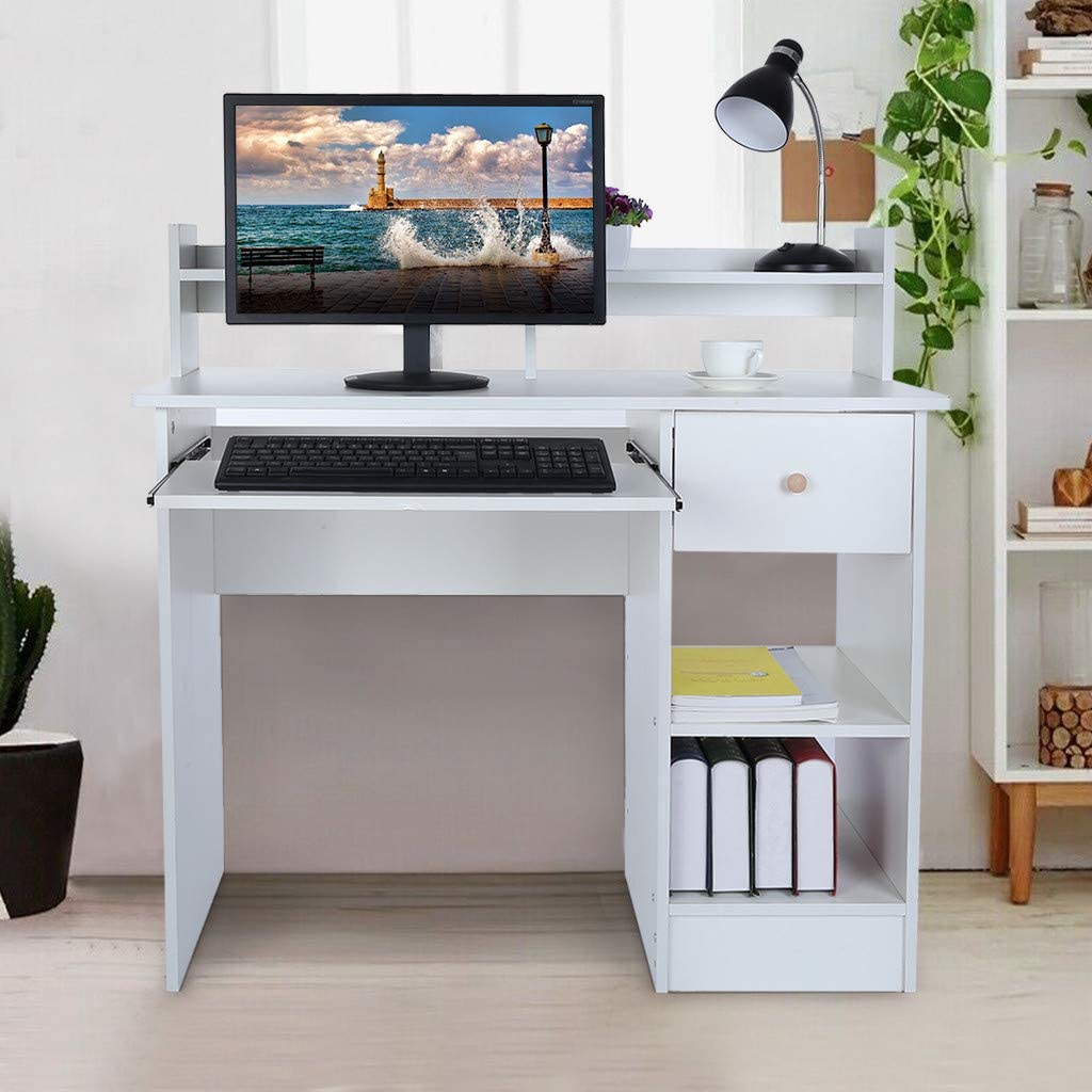 Computer Desk Modern Laptop Desktop Study Writing Table with Keyboard Tray, Drawer & Shelves for Small Spaces, Students Study Table Home Office PC Laptop Table Wood Workstation,US Shipping (White)