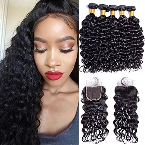 Maxine 9A Malaysian Virgin Hair Bundles with Closure Water Wave 4 Bundles With Free Part Closure Wet And Wavy Virgin Human Hair Weave Natural Black(16 16 18 18with 14)