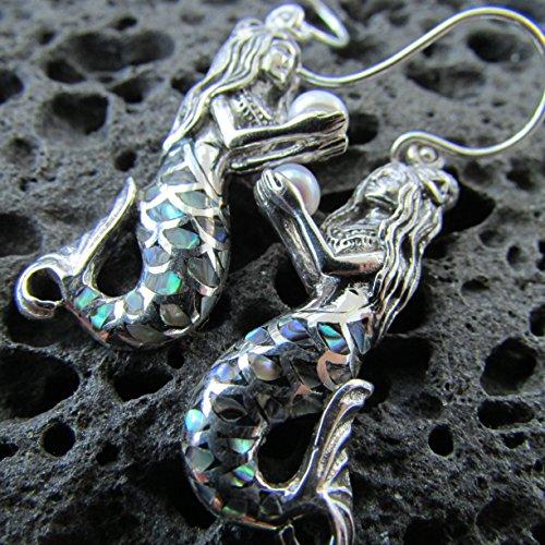 Mermaid Earrings | Abalone Paua Shell | Sterling Silver | Pearl