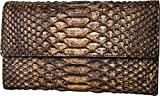 Women's Python Skin Leather Clutch Wallet Big – Made in Italy