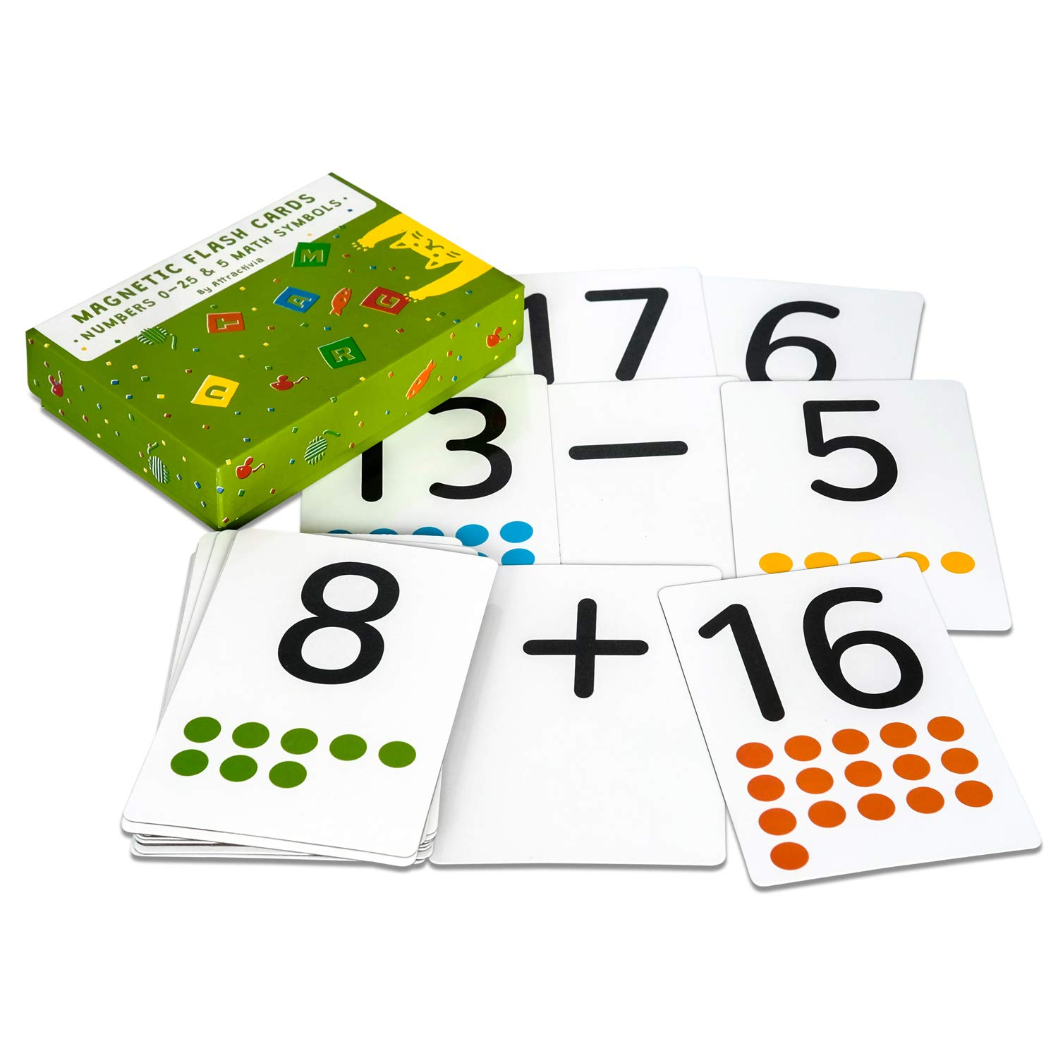 Magnetic Flash Cards - Large Numbers 0-25 with Math Symbols - Addition,  Subtraction
