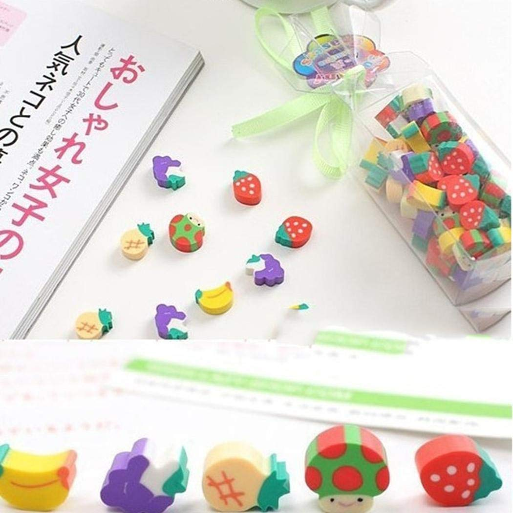 Goodfans 50 Pcs/bag Children Students Casual Cute Mini Fruit Toy Eraser Stationery Tool Cartoon Toy Pen Erasers by Goodfans (Image #4)