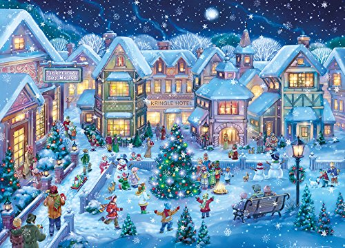 Christmas Stationery Cards (Holiday Village Square Christmas Cards - Box of 15)