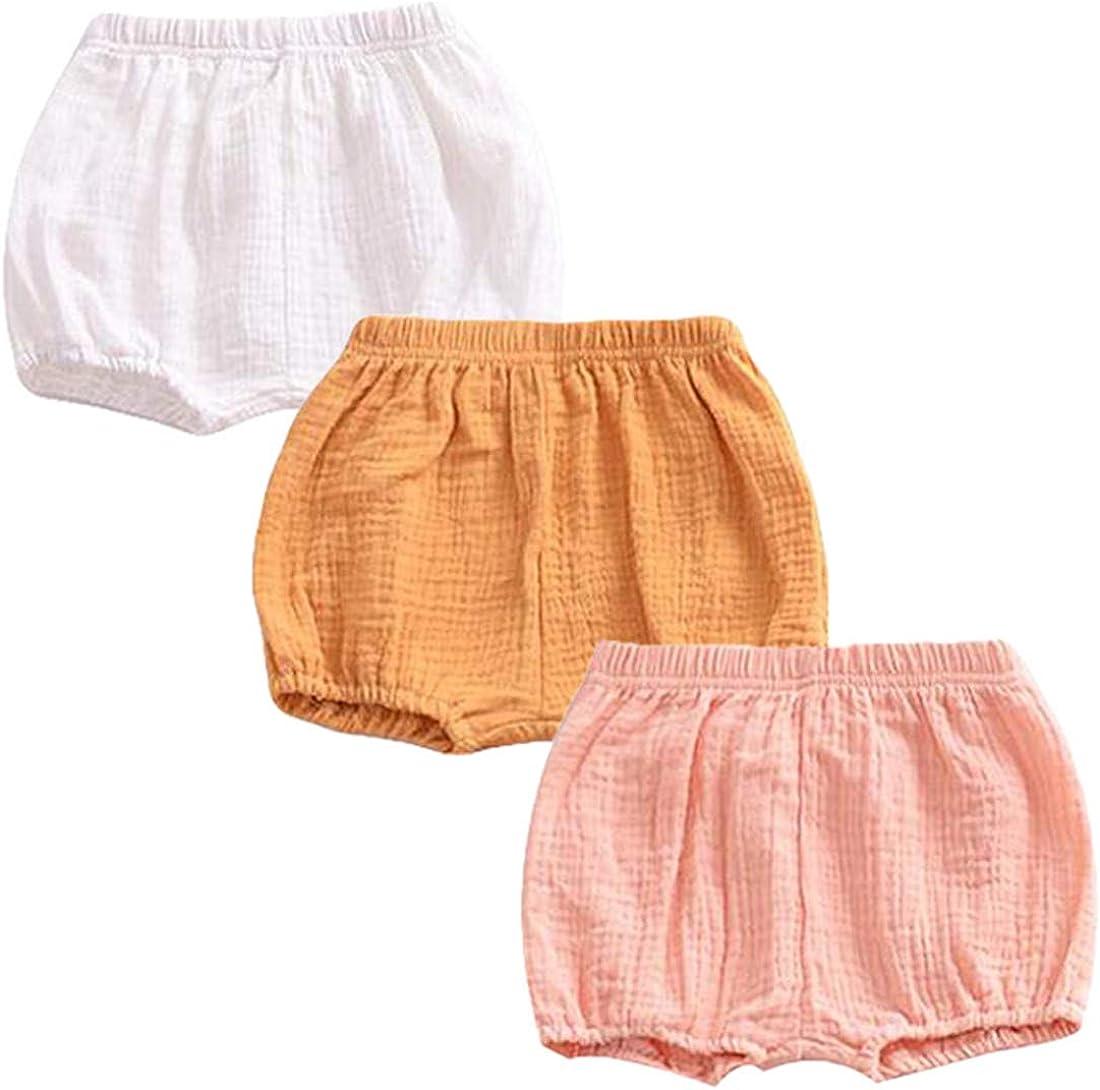 REWANGOING 3 Pack of Baby Infant Kids Girl Soild Cotton Linen Blend Soft Ruffle Bloomer Shorts Pants