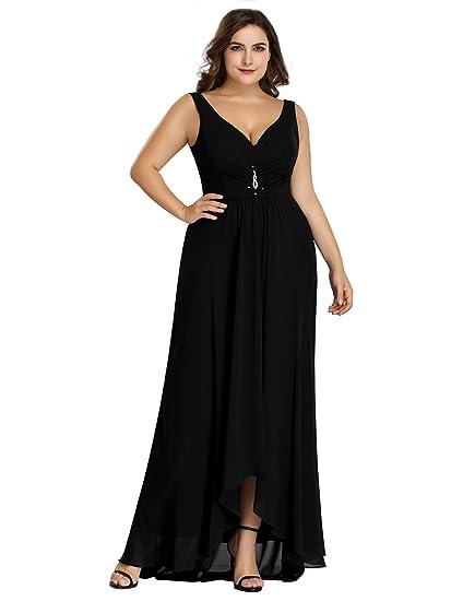 707fa81a299 Ever Pretty Women's Elegant V Neck High-Low A Line Chiffon Long Evening  Dresses Black