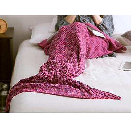 Bolsa de dormir cola de sirena, manta tejida a ganchillo, diseño de sirena, suave y cálida manta de cola de sirena para sofá, sala de estar, manta ...