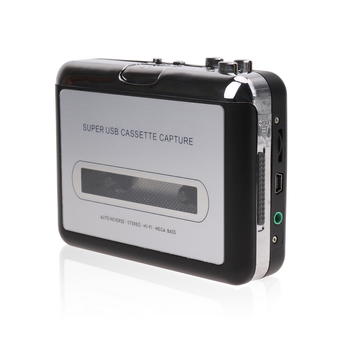 CHICTRY Portable USB Cassette Tape to MP3 PC Converter Capture Stereo Audio Music Player with Earphone