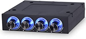 """KKmoon Sunshine-tipway Fan Controller Speed Control Adjuster LED Cooling Front Panel STW 3.5"""" PC CPU HDD 4 Channel"""
