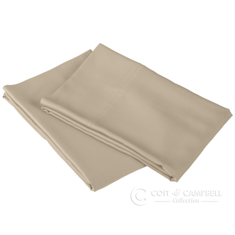 Coit & Campbell Premium Hotel Collection 100% Cotton Sateen Pillow Case (2pcs) (Taupe, 400 TC - Standard)