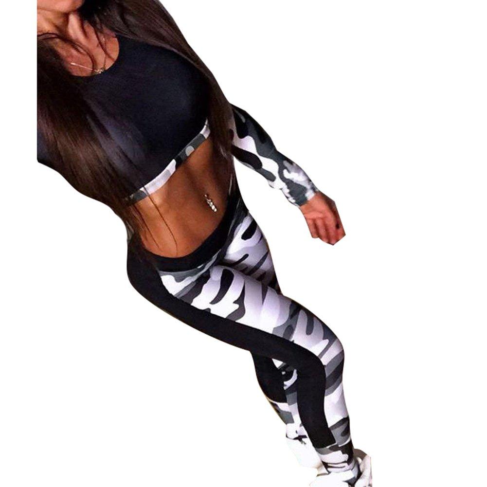 2pcs Camouflage Trainingsanzug für Damen Frauen - Mode Langarm Bluse Oberteile mit Lange Hose Fitness Jogginganzug Frühling Casual Sportanzug Hausanzug D180401TZ3-Z