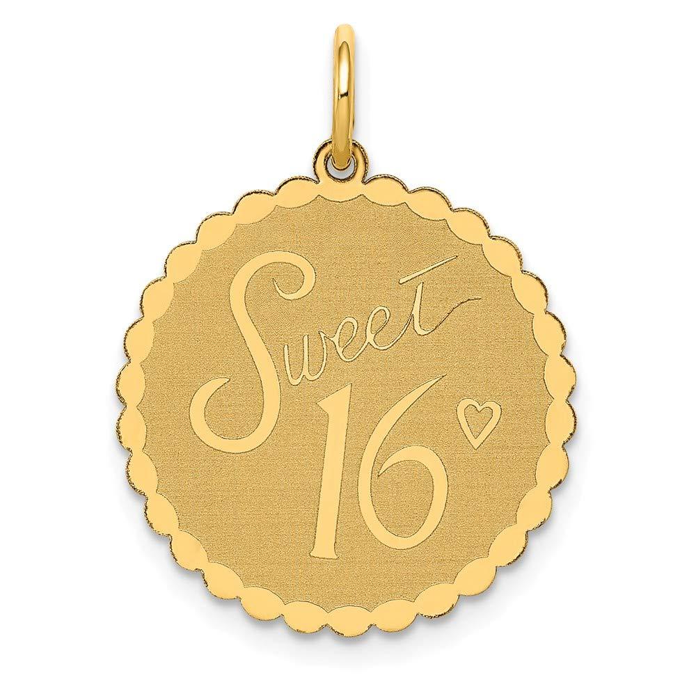 14K Yellow Gold Sweet 16 Charm