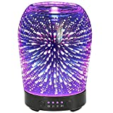 coosa 3D Aromatherapy Glass Essential Oil Diffuser COOSA 100ml Ultrasonic Aroma Diffuser Cool Mist Humidifier with 7 Color Changing LED Lights and Waterless Auto Shut-Off for Home Office Baby Room Spa Yoga