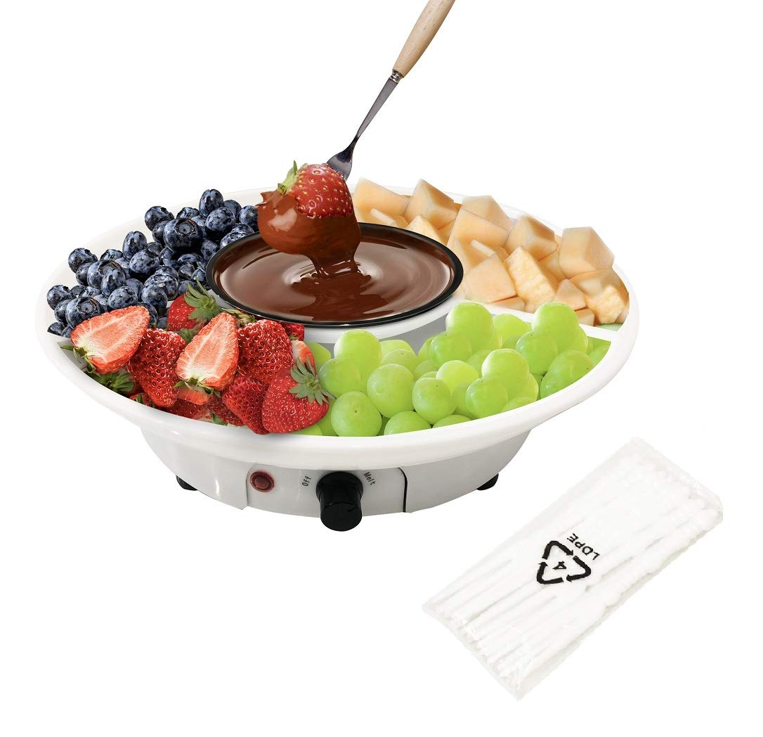 Chocolate Fondue Maker - Electric Chocolate Melting Pot Set with Stainless Steel Bowl, Serving Tray, Comes with 10 Fondue Forks by DIY
