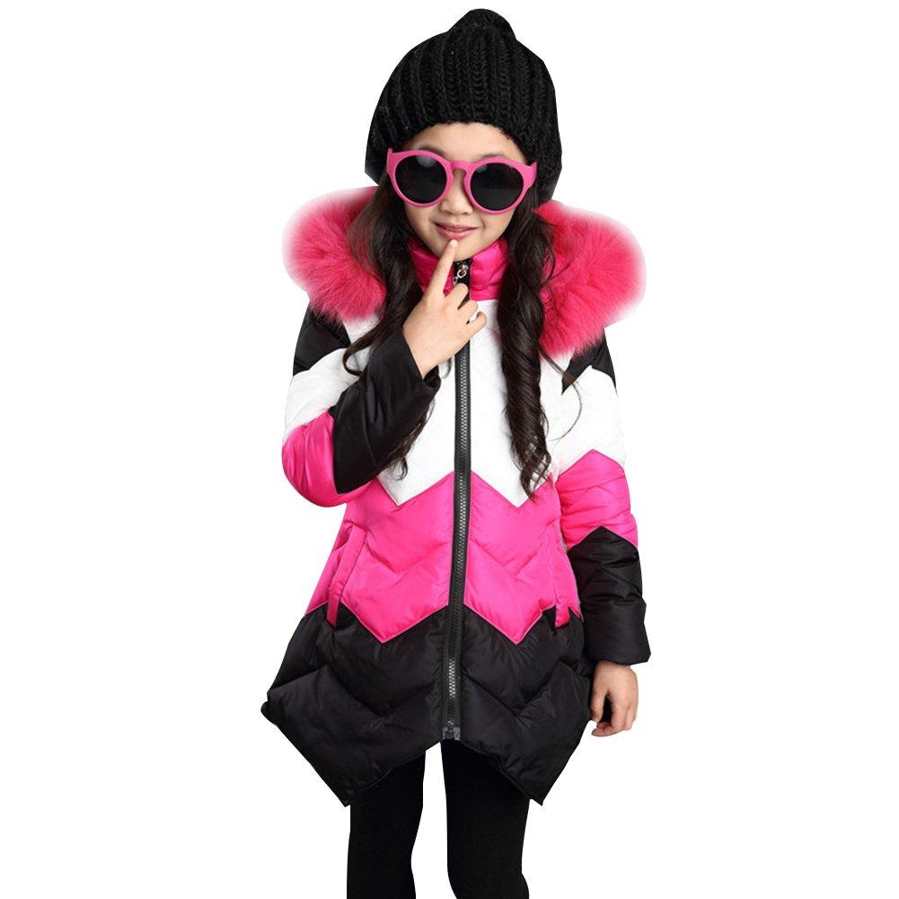 LSERVER Kid Girls Down Cotton Jacket Irregular Thickening Warm Kids Girl Long Winter Coat Fur Hoodies
