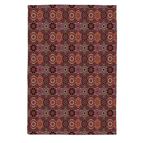 Moroccan Waterproof Tablecloth,Vintage Tile Design with Oval Motifs Ottoman Mandala Figures Ornamental Decorative for Dining Table Tea Table Desk Secretaire,60''W X 84''L