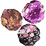 SOLUSTRE 3pcs Sleep Night Caps Wide Band Silk Satin Bonnet Night Head Cover Soft Hair Turban for Night Sleeping