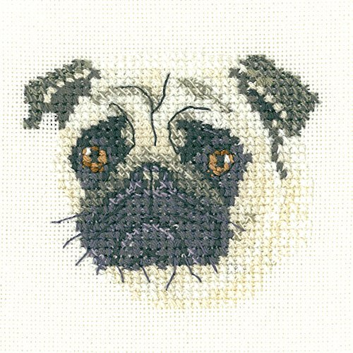 Heritage Crafts Little Friends Pug Counted Cross Stitch Kit - Evenweave by Heritage - Kit Crafts Heritage